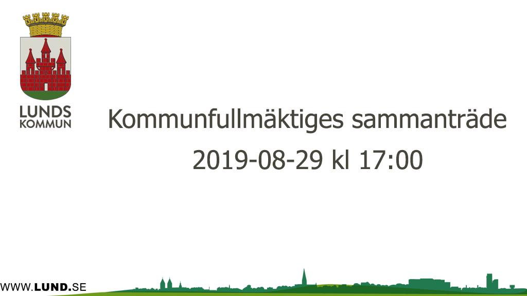 Kommunfullmäktiges sammanträde 2019-08-29
