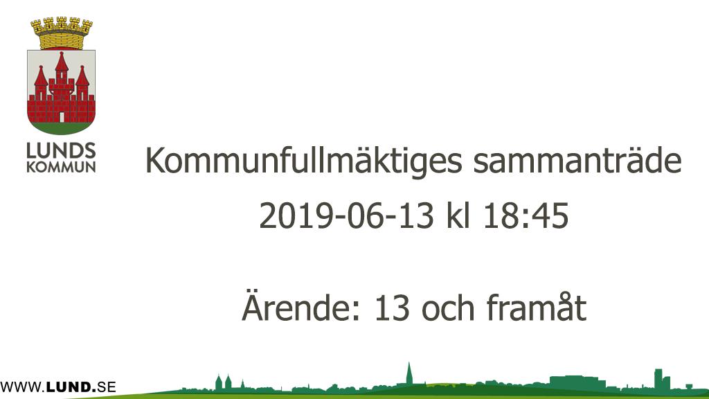 Kommunfullmäktiges sammanträde 2019-06-13