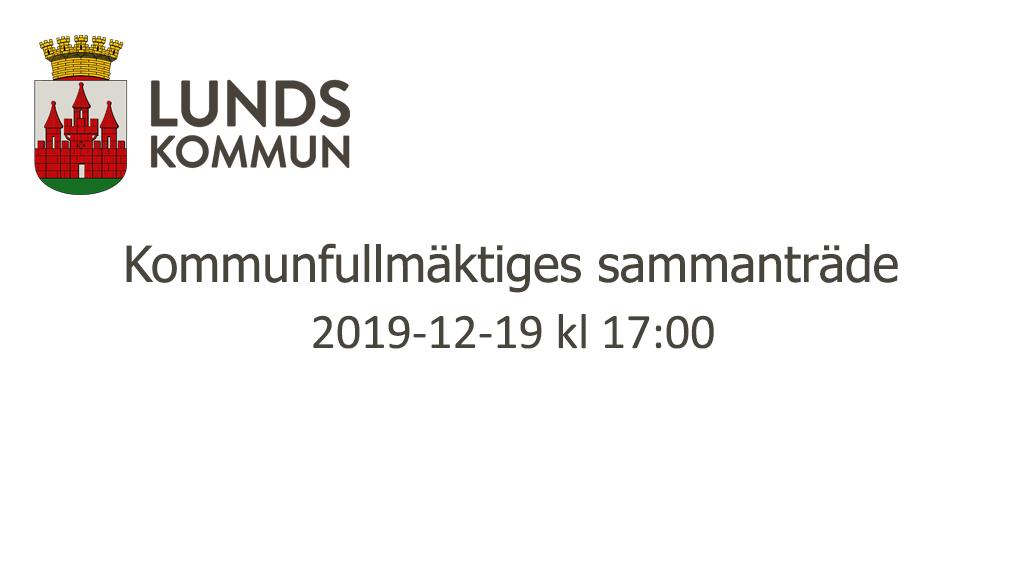 Kommunfullmäktiges sammanträde 2019-12-19