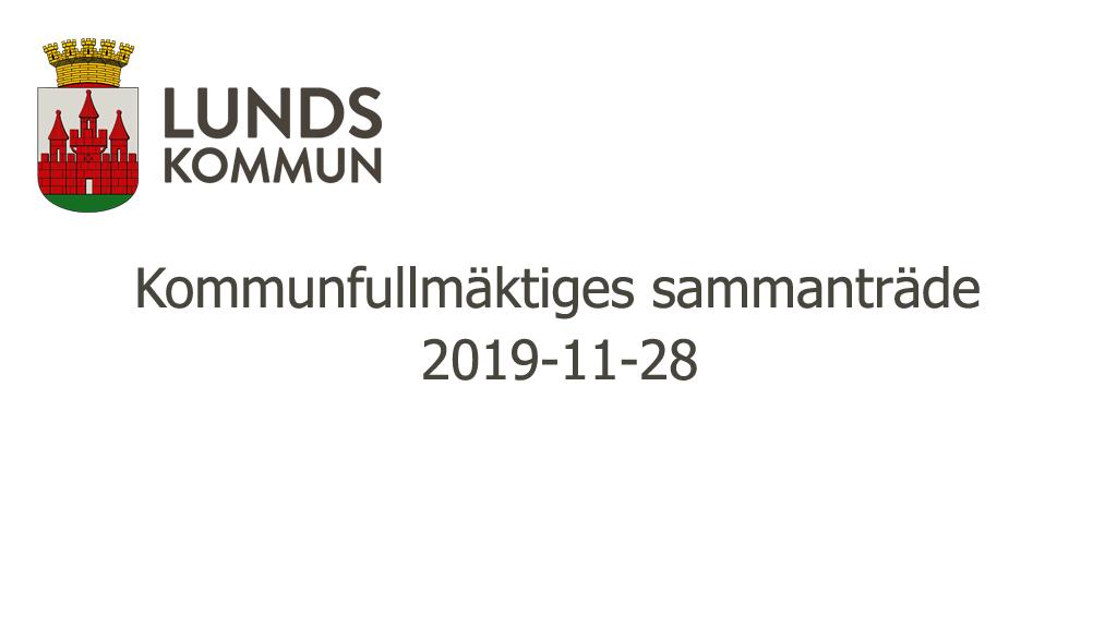 Kommunfullmäktiges sammanträde 2019-11-28