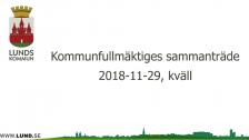 Kommunfullmäktiges sammanträde 2018-11-29 Kväll