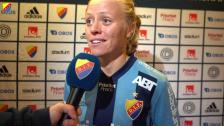 Mia Jalkerud efter sina två mål i 3-3-matchen